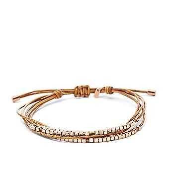 Fossil Women's Leather/Stainless Steel Bracelets with Rose Gold Beads