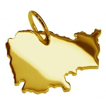 Hänge karta kedja hänge i guldgult-guld i form av KAMBODSCHA