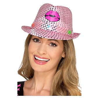 Womens illuminent Sequin partie de poule Trilby Hat déguisements accessoires