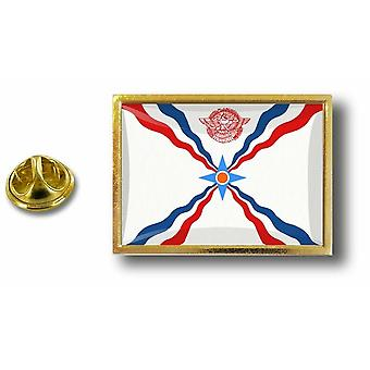 Pine PineS Badge Pin-apos;s Metal With Butterfly Pinch Flag Assyrian Assyrian