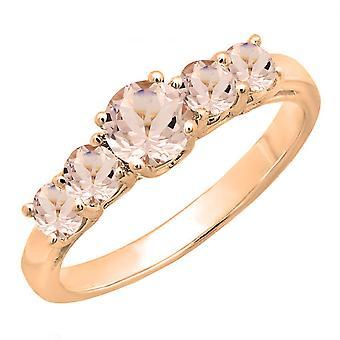 Dazzlingrock Collection 14K Round Morganite Ladies 5 Stone Anniversary Wedding Ring Band, Rose Gold