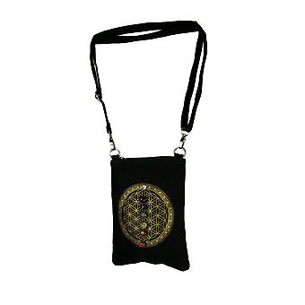 Black Canvas Flower of Life Sacred Geometry 7 Chakra Crystal Grid Crossbody Bag