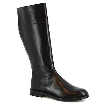 Leonardo Shoes Women's handmade boots in black calf leather with zip closure