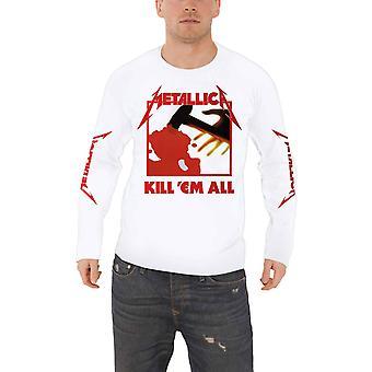 Metallica T-shirt Kill Em Alle nieuwe band logo officiële mens witte lange mouw
