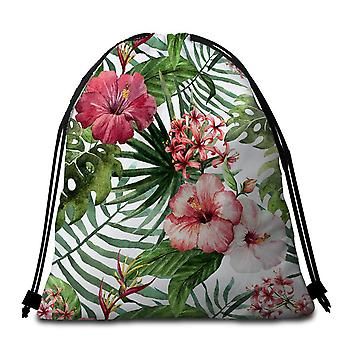 Hibiscus and Tropical Leaves Beach Towel