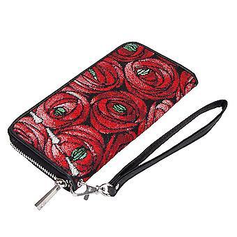 Mackintosh-Rose og Teardrop lang zip penge tegnebog ved signare gobelin/lzip-rmtd
