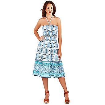 Pistachio Women's Aqua White Cotton Arabia Print Strapless Summer Dress / Skirt