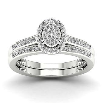 Igi-certifierad s925 silver 0.25ct tdw diamant oval kluster halo brudset