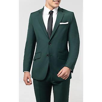 ドベル メンズ ボトル グリーン スーツ ジャケット スリム フィット