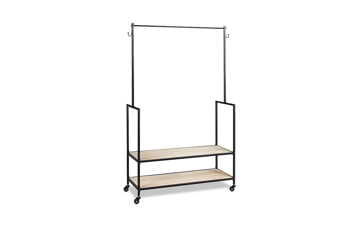 LIFA LIVING clothes rack on rolls, clothes rack wood and metal black, 2 shelves, shoe rack, wardrobe stand with parking brake for bedroom, 1.75 m