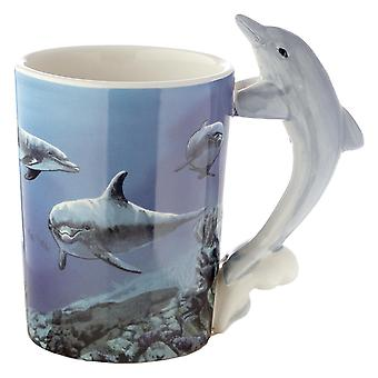 Delfin-kuppi, jossa 3D-kahva vedenalainen maailman valkoinen, painettu, 100 % maadoitustavaraa, versio ÷geni n. 350 ml.