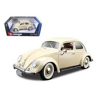 1955 Volkswagen Beetle Kafer Beige 1/18 Diecast Car Model par Bburago