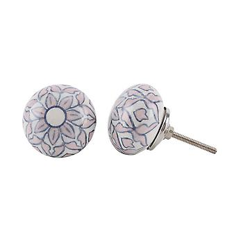 CGB Giftware Pink And Blue Flower Drawer Handle