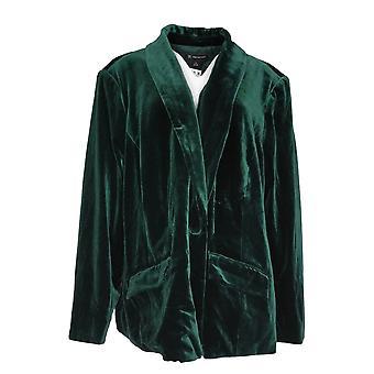 INC Women's Plus 6D018 Velvet Blazer Long Sleeves Green