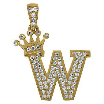 10k sárga arany férfi nők cubic cirkónia CZ koronázott levél neve személyre szabott monogram kezdeti W Charm medál nyaklánc