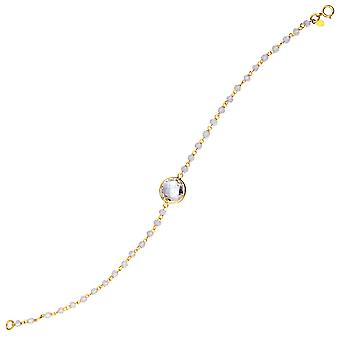 925 Sterling Silver Gold Flashed White Topaz Bead Bracelet With 10mm Center Adjustable 7.50 Inch Jewelry Gifts for Women
