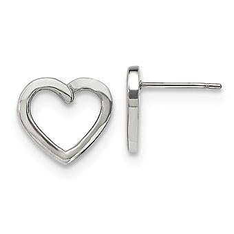 13.79mm Stainless Steel Polished Love Heart Post Earrings Jewelry Gifts for Women