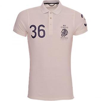 Hachura Mens Polo T camisa Crosshatch algodão Colllared Pique Polo Tee Top curto mangas