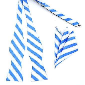 Blue & white stripe self tied bow tie & pocket square