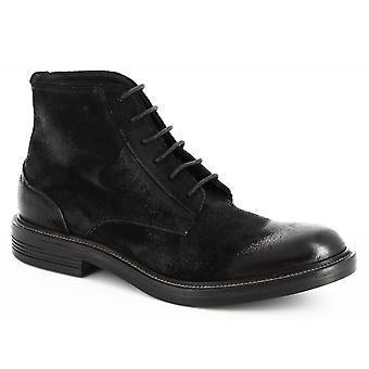 ليوناردو أحذية الرجال & ق الدانتيل المصنوعة يدويا متابعة أحذية الكاحل في جلد جلد الغزال الأسود