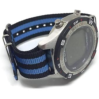 N.a.t.o zulu g10 style watch strap blue and black nylon 2 stripe