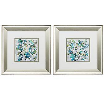 "13"" X 13"" Brushed Silver Frame Sapphire Vine (Set of 2)"