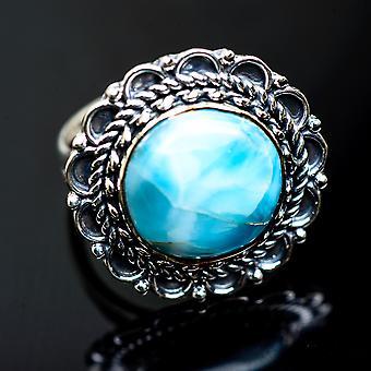 Larimar Rings 8 (925 Sterling Silver)  - Handmade Boho Vintage Jewelry RING991330