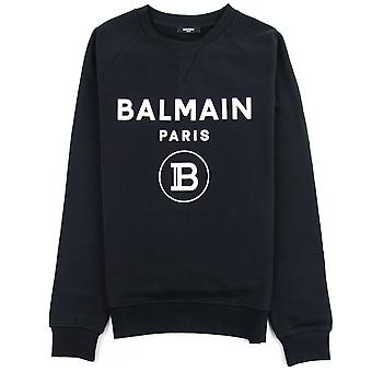 Balmain Velvet Logo Bawełna Bluza czarna