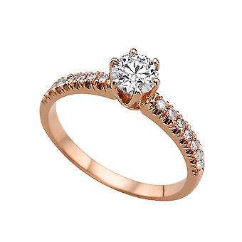 1.24 Carat F VS2 Diamond Engagement Ring 14K Rose Gold Solitaire w Accents Classic Round