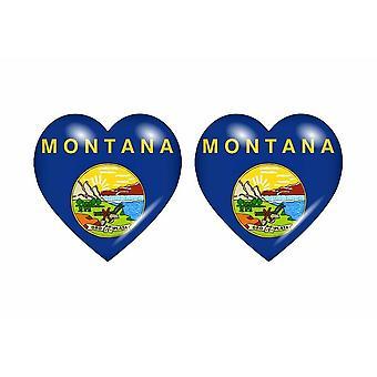 2x Stick klistermärke flagga hjärta usa montana