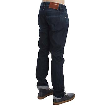 Blue-wash cotton regular straight-fit jeans