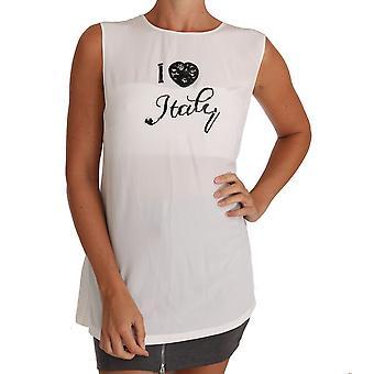 Dolce & Gabbana Valkoinen Silkki I LOVE ITALY Cami T-paita