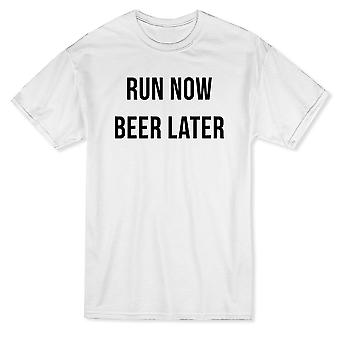 Funny Run Now Beer Later Graphic Men's T-shirt