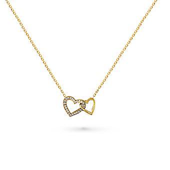 طفل قلادة قلب الحب، 18K الذهب والماس - الذهب الأصفر