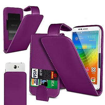 Micromax Bharat 5 Pro Large Purple Clamp Style PU Cuir Flip Phone Case