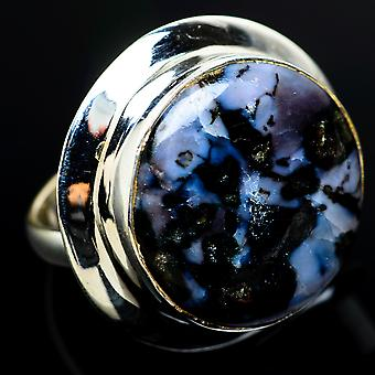 Large Indigo Gabbro Ring Size 9 (925 Sterling Silver)  - Handmade Boho Vintage Jewelry RING8113