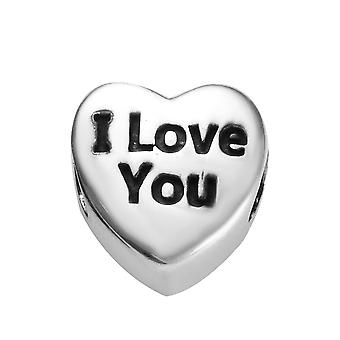 Sterling Silver Platinum Plaqué I Love You Heart Charm Best Gift for Women TJC