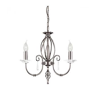 Aegean Pendant, Polished Nickel And Glass, 3 Bulbs