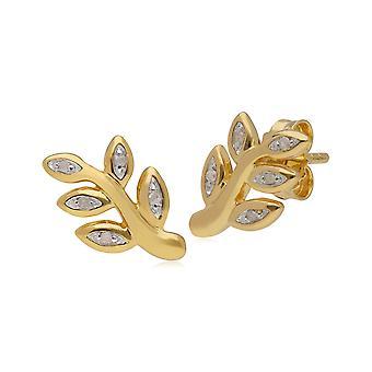 Kosmos Diamond Leaf muotoinen stud korvakorut keltainen kullattu sterlinghopea T1039E9096