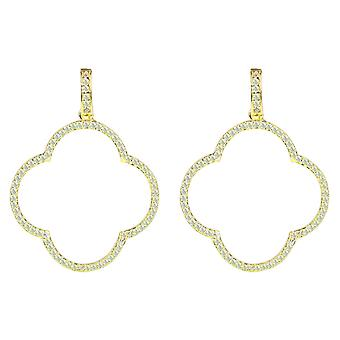 Large Open Clover Yellow Gold White CZ Statement Drop Earrings Bridal Wedding