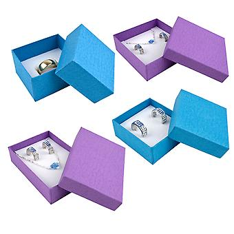 Blå eller lila Textured Card Finish Smycken Presentask och väskor