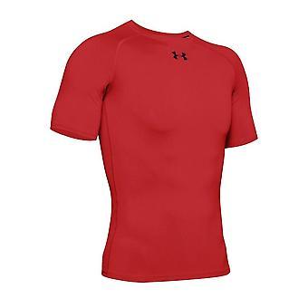 تحت درع HeatGear درع الرجال قصيرة كم ضغط Baselayer قميص أحمر