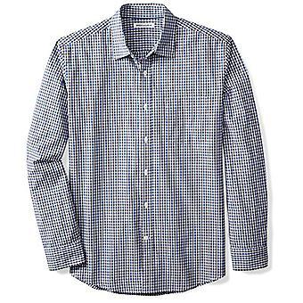 Essentials men's regular-fit camisa de poplin casual de manga larga, azul/bla...