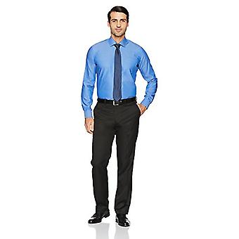 """BUTTONED DOWN Men's Slim Fit Spread-Collar Solid Non-Iron Dress Shirt (Pocket), French Blue, 15.5"""" Neck 36"""" Sleeve"""