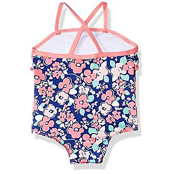 Pink Platinum Baby Girls Floral Pom One Piece Swimsuit, Navy, 24M
