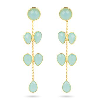 ADEN Gold Plated 925 Boucles d'oreilles Sterling Silver Chalcedony (id 4450)