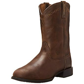 أريات Mens التراث روبر Wst الجلود مربع تو منتصف العجل الغربية الأحذية