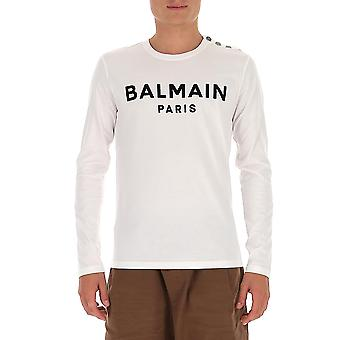 Balmain Uh11270i398gab Men's White Cotton Sweatshirt