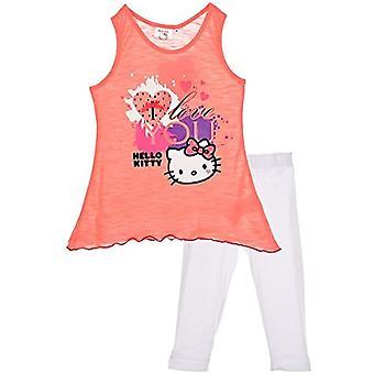 Tytöt Hei Kitty hihaton t-paita päälle ja 3/4 säärystimet asento
