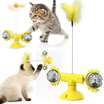 3 in 1 Cat Toy with Rotating Ball and Interactive Feather and Training Ball For Cat Funny Playing